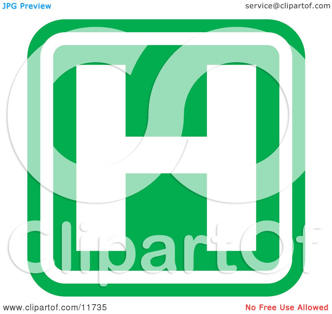 1080x1024 Green Hospital Sign With A White H Clipart Illustration By