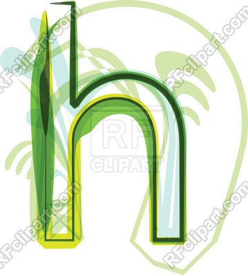 359x400 Green Organic Font Letter H Royalty Free Vector Clip Art Image