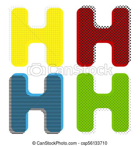 450x470 Letter H Sign Design Template Element. Vector. Yellow, Red