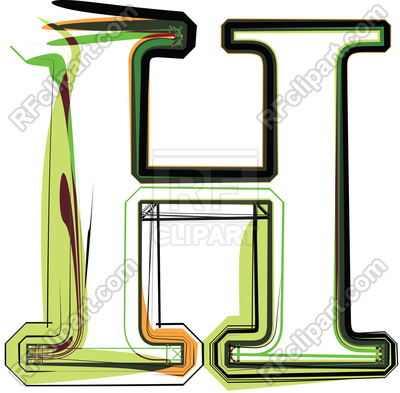 400x393 Organic Type Letter H Royalty Free Vector Clip Art Image