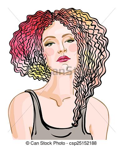 395x470 Vector Portrait Of A Beautiful Woman With Red Hair On