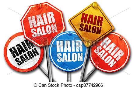 450x290 Hair Salon, 3d Rendering, Street Signs Stock Illustration