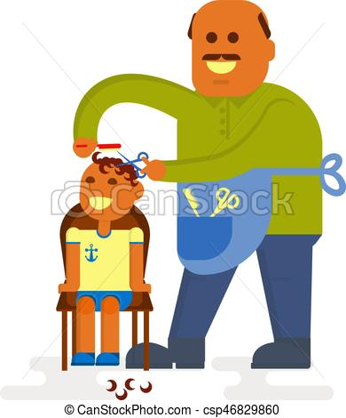 390x470 Professional Bald Headed Hairdresser Is Cutting To Baby Boy