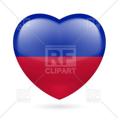 400x400 Heart With Haitian Flag Colors. I Love Haiti Royalty Free Vector