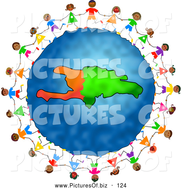 600x620 Clipart Of A Ring Of Stick Children Holding Hands Around A Haiti