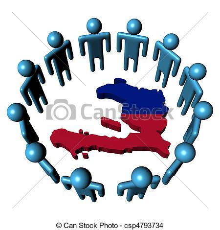 450x470 Circle Of Abstract People Around Haiti Map Flag Illustration