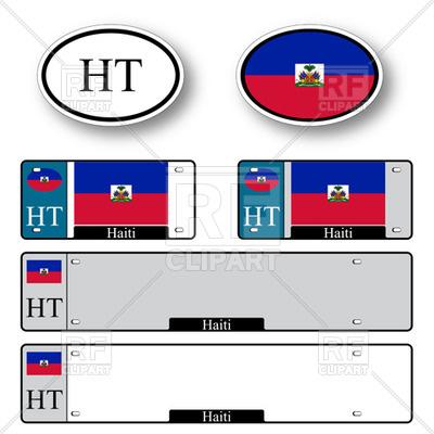 400x400 Template Of Car Plate Number With Flag Of Haiti And Oval Bumper