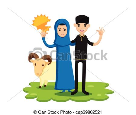 450x379 Happy Family Eid Al Adha Celebrate. Isolated Muslim Couple