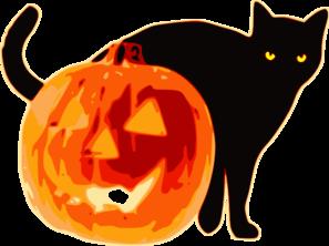 297x222 Halloween Cat With Pumpkin Clip Art