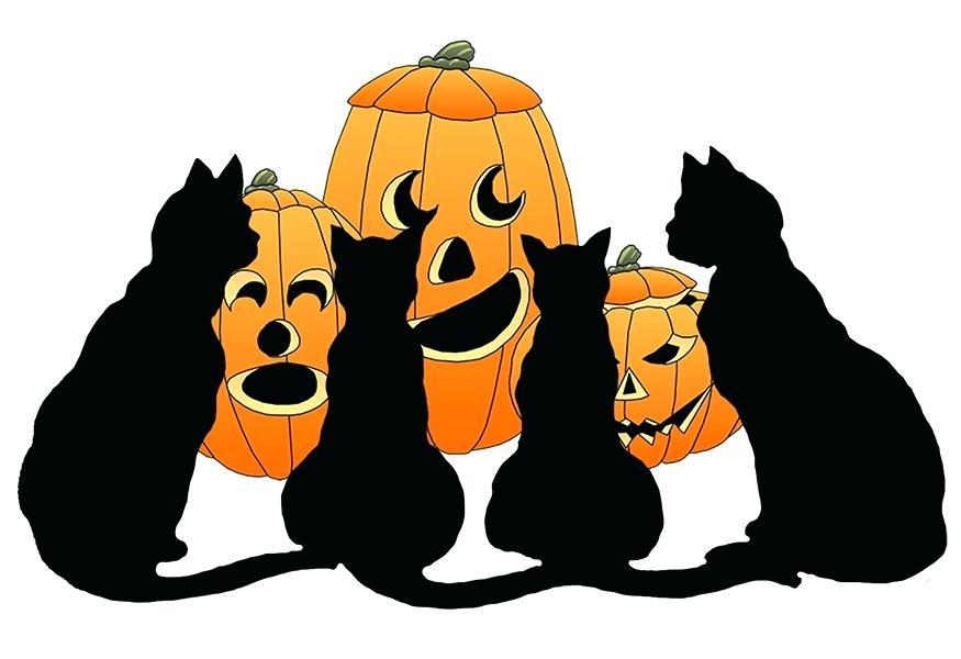 875x600 Halloween Clip Art For Kids Black Cats And Pumpkins For Clip Art