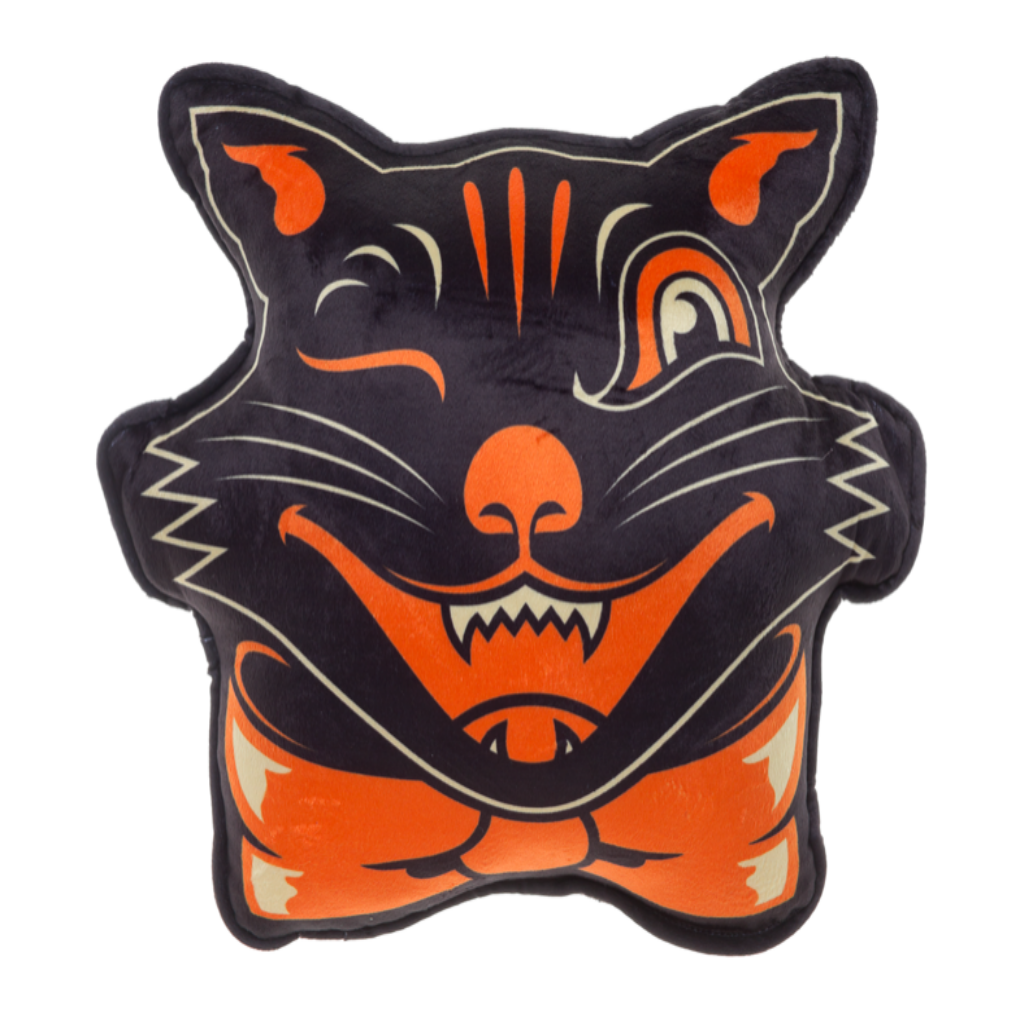 1024x1024 Vintage Halloween Black Cat Pillow
