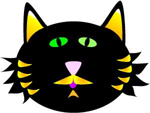 300x226 Black Cat Face Halloween Clip Art