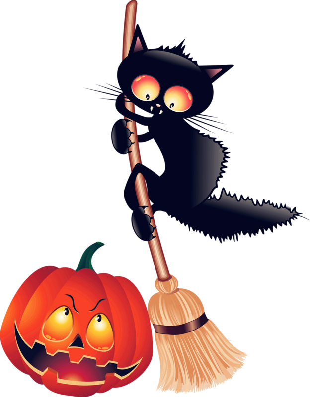 624x800 Black Cat Kitten Halloween Clip Art