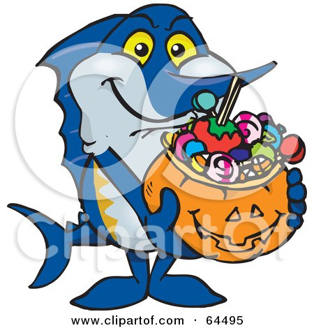 450x470 Clipart Of A Friendly Waving Marlin Fish Wearing Easter Bunny Ears