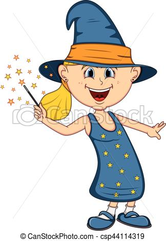 324x470 Funny Witch, Girl With Halloween Outfit Cartoon