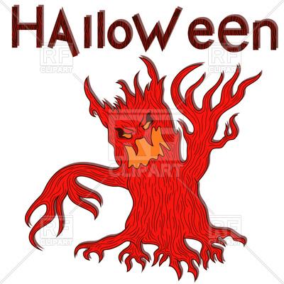 400x400 Halloween Cartoon Aggressive Evil Tree Royalty Free Vector Clip