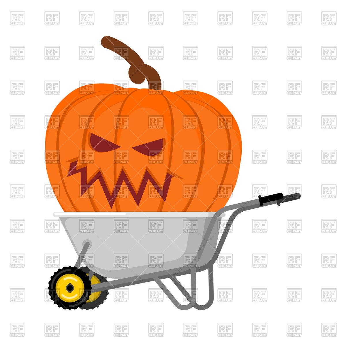 1200x1200 Wheelbarrow With Big Halloween Pumpkin Royalty Free Vector Clip