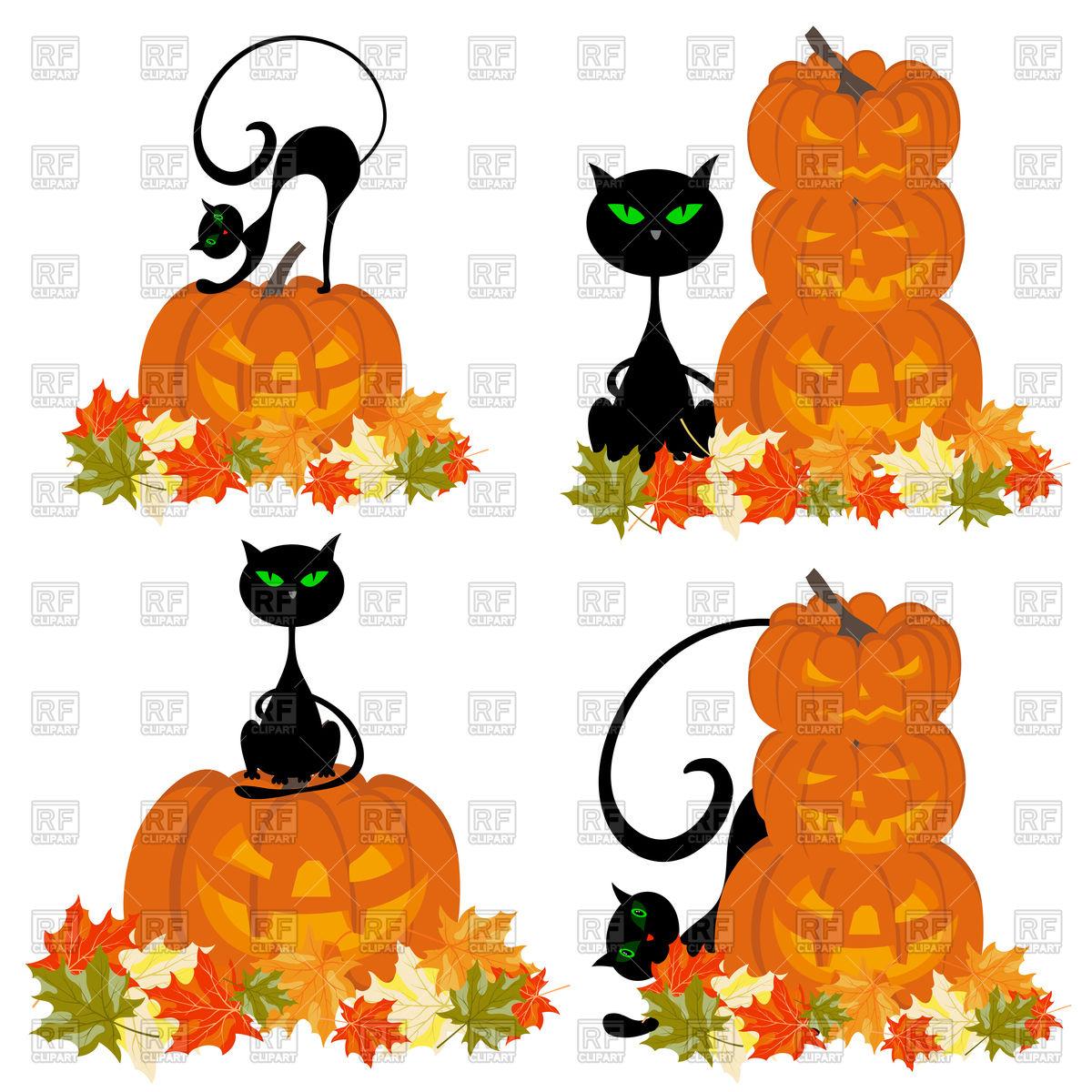 1200x1200 Halloween Pumpkin And Cat Royalty Free Vector Clip Art Image