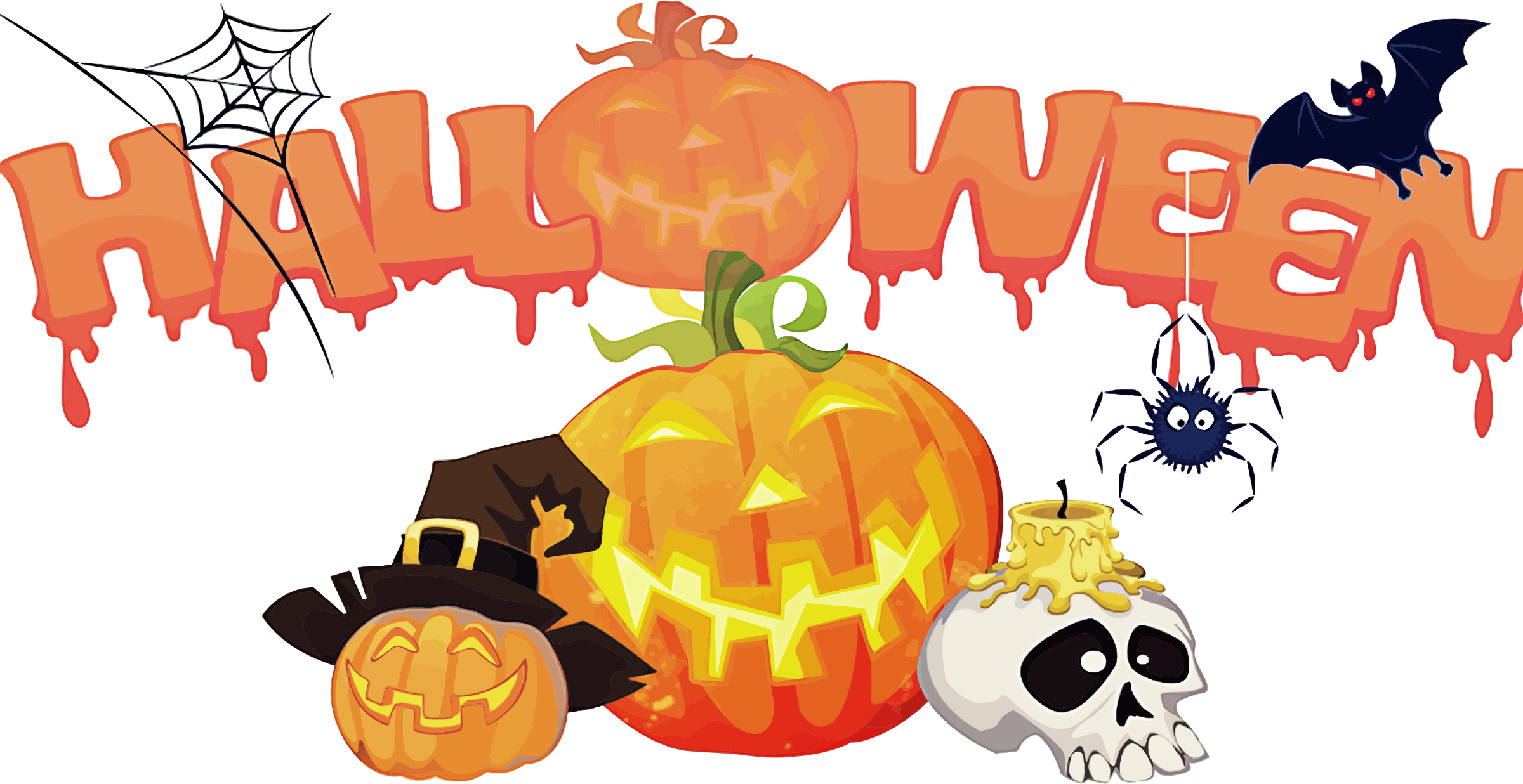 2400x1236 Halloween Decorations Background Icons Png