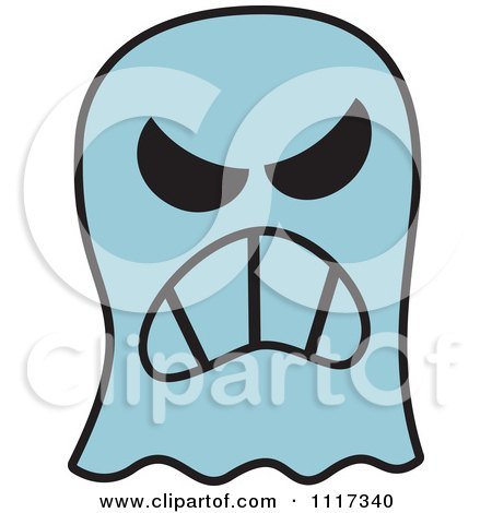 450x470 Cartoon Of A Halloween Ghost With An Angry Expression