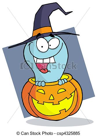 335x470 Cartoon Character Halloween Ghost Happy Blue Ghost Popping