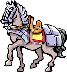 278x300 Clipart Image A Knight's Horse In Metal Plating