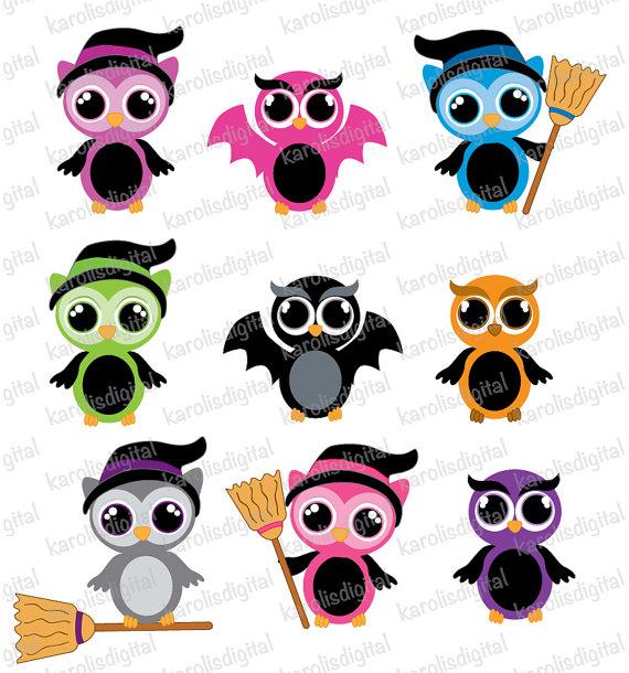 570x610 Halloween Owls Clip Art Set