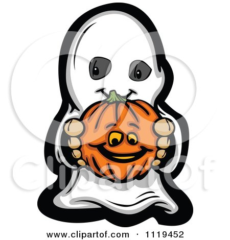 450x470 Cartoon Of Halloween Kid In Ghost Costume Holding Out