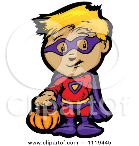 450x470 Cartoon Of Halloween Kids In Witch Ghost And Super Hero Costumes