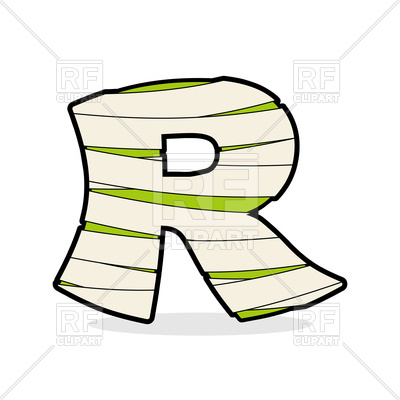 400x400 Letter R Mummy Font Royalty Free Vector Clip Art Image