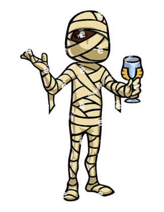 324x418 Mummy Stepping Out Of Coffin, Walking Like Zombie Vector Clipart