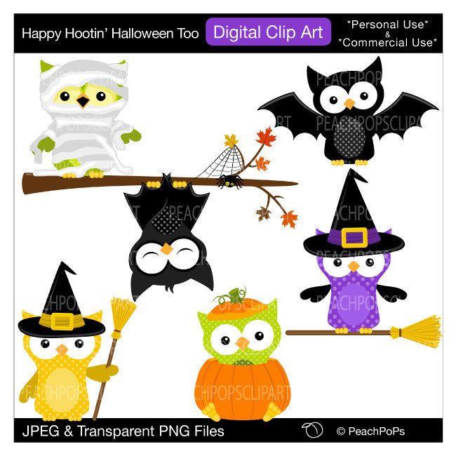 650x650 Cute Halloween Owls Clip Art Digital Clip Art Original, Owls