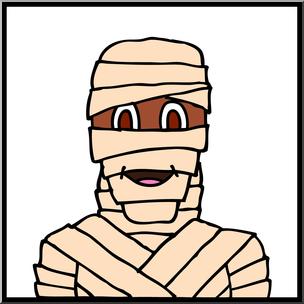 304x304 Clip Art Halloween Faces Mummy Color I Abcteach
