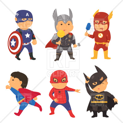 400x400 cartoon superhero costume kids royalty free vector clip art image