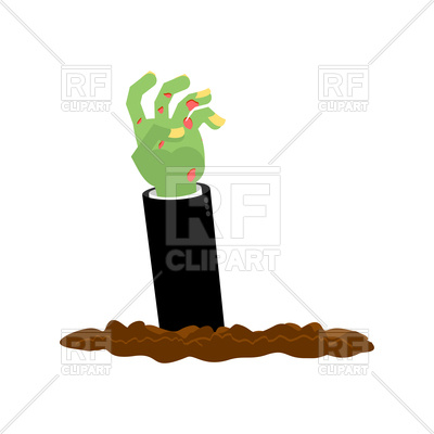 400x400 Zombie Hand Climbs Out From Ground. Halloween. Royalty Free Vector