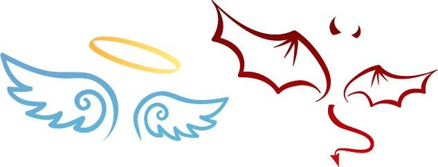 633x242 Cartoon Of Angel Halo And Wings, Devil Horns And Wings Raw