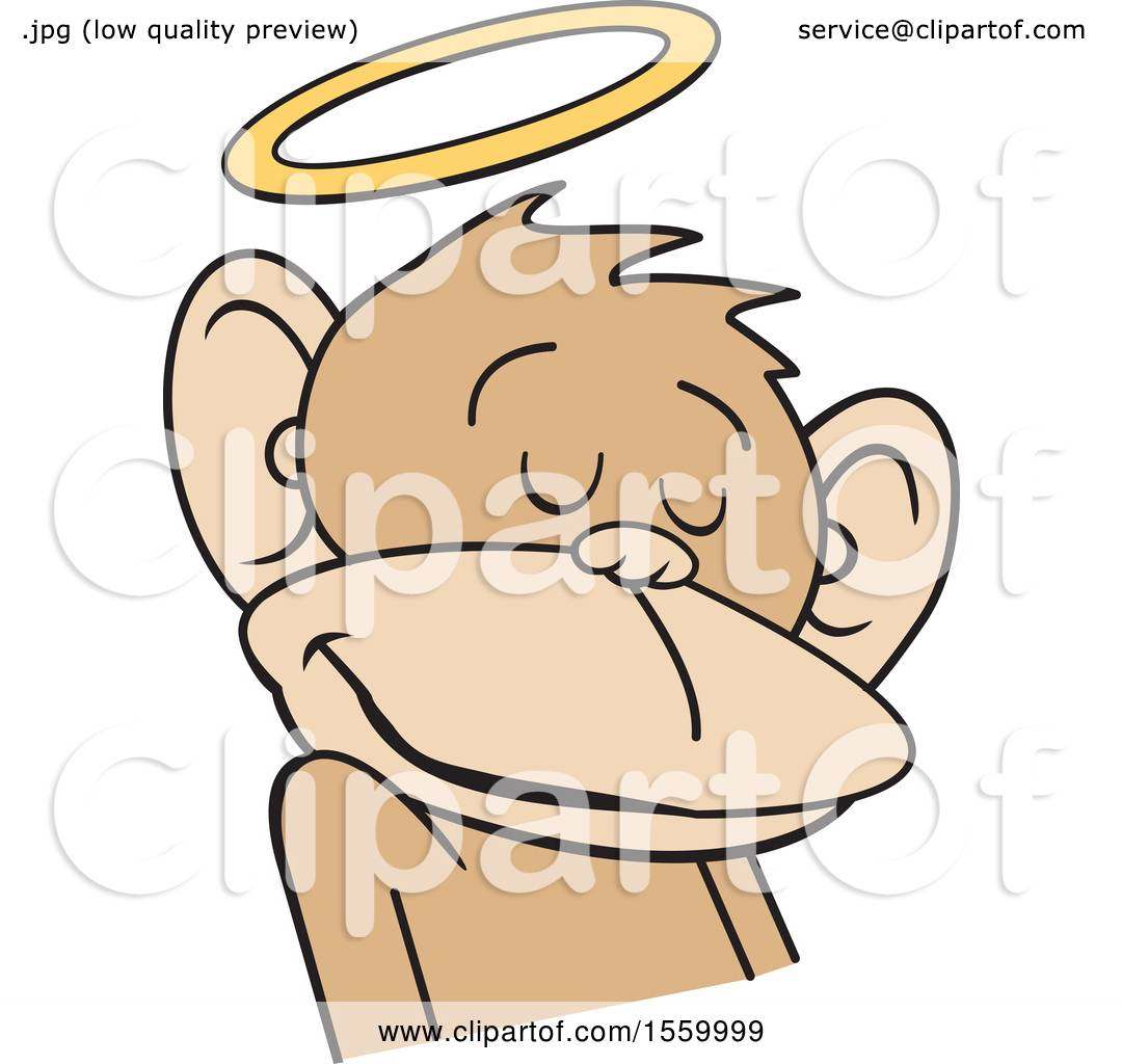 1080x1024 Clipart Of A Do No Evil Innocent Monkey With A Halo