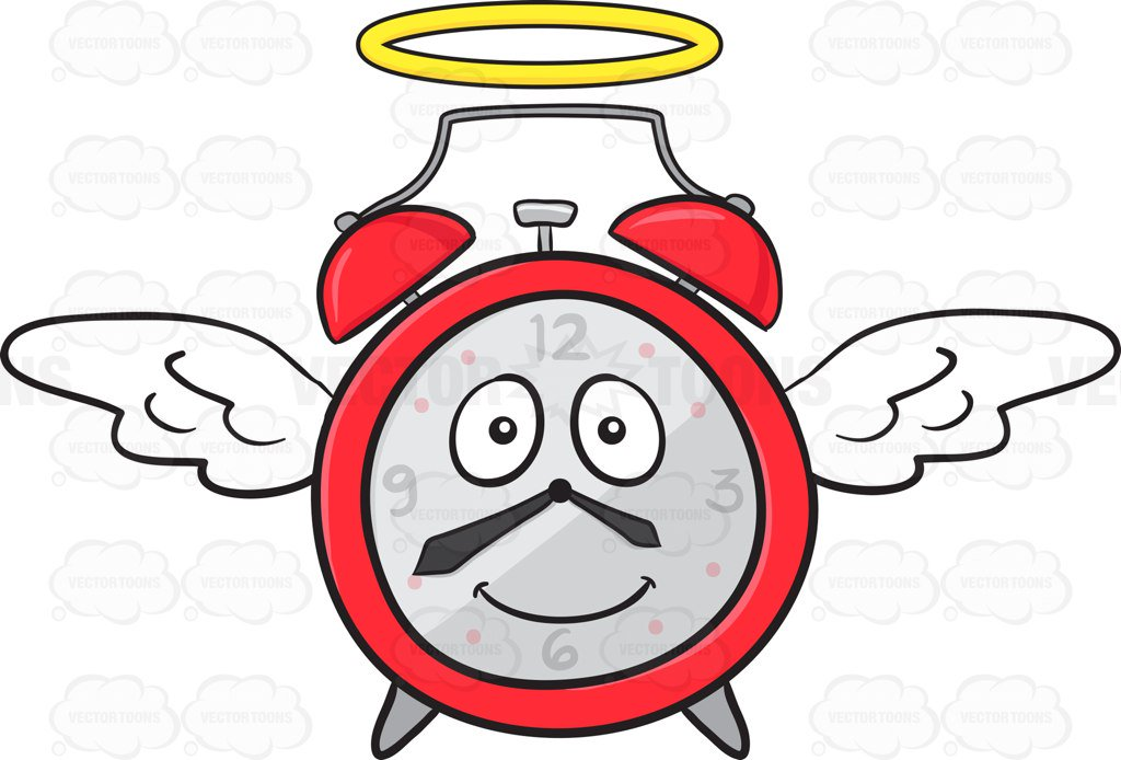 1024x694 Smiling Alarm Clock With Halo And Wings Emoji Cartoon Clipart