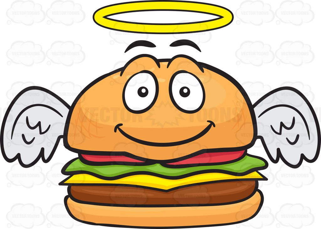 1024x731 Smiling Cheeseburger With Halo And Angel Wings Cartoon Clipart
