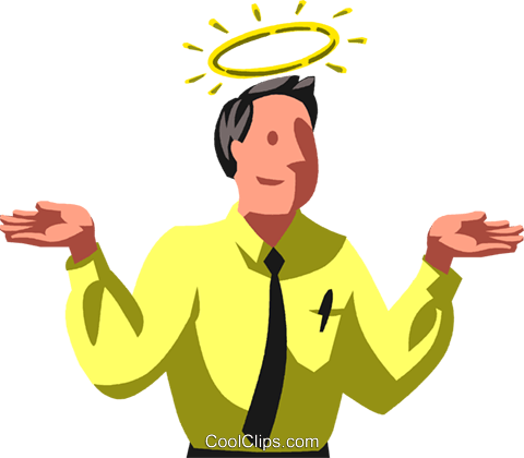 480x420 Halo Over A Businessman Royalty Free Vector Clip Art Illustration