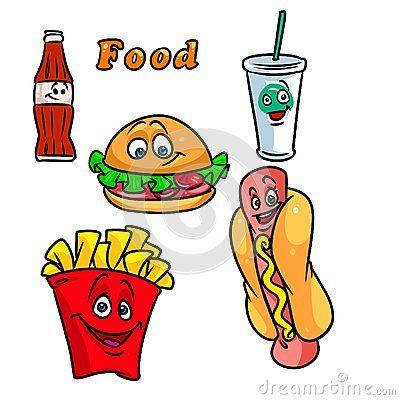 400x400 Fast Food Cartoon Illustration Hamburger French Fries Cola Hot Dog