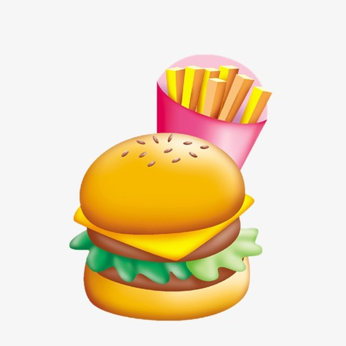 500x500 Hamburger, French Fries, Cartoon Png Image And Clipart For Free