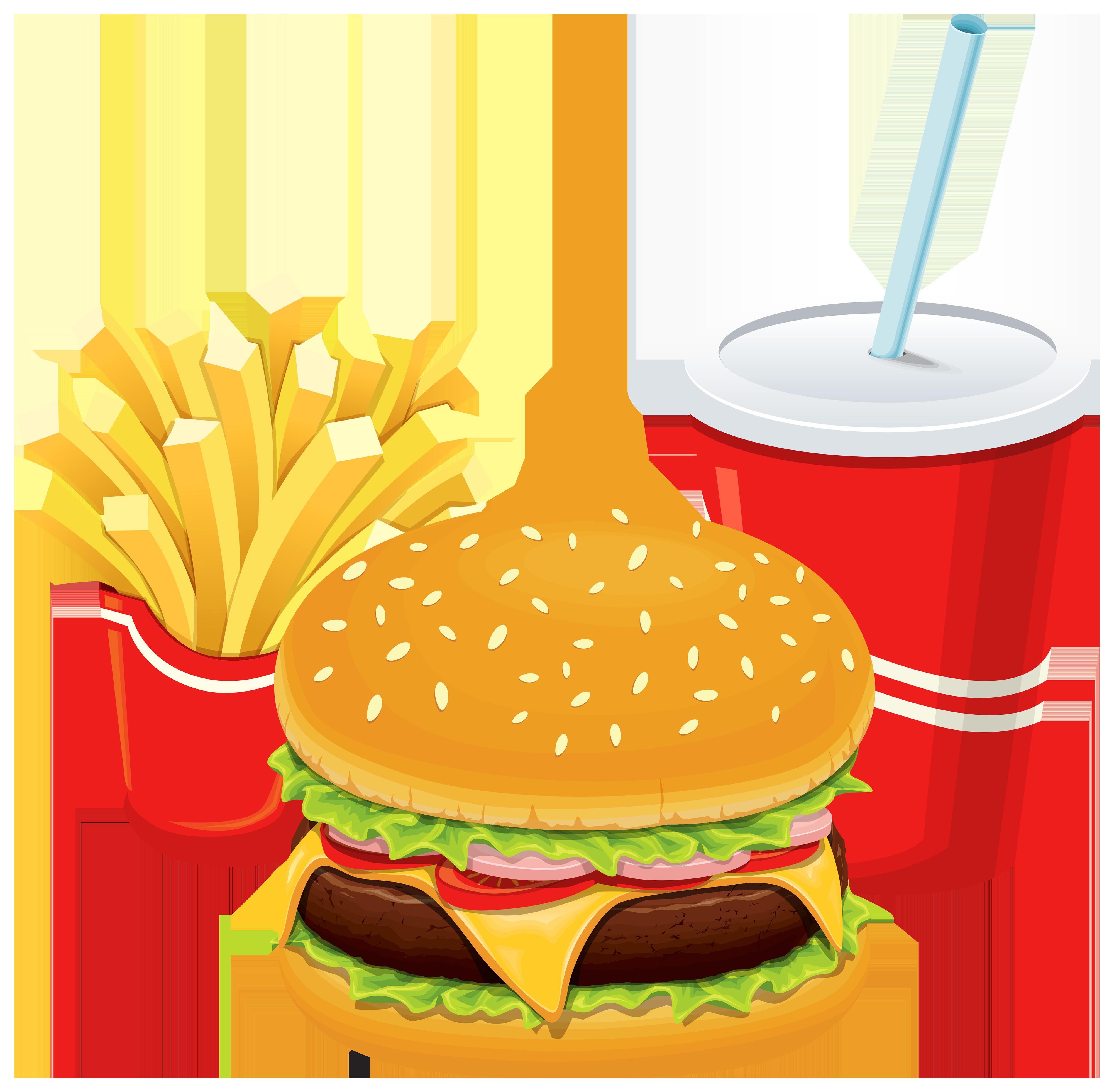 4000x3921 Hamburger Fries And Cola Png Clipart