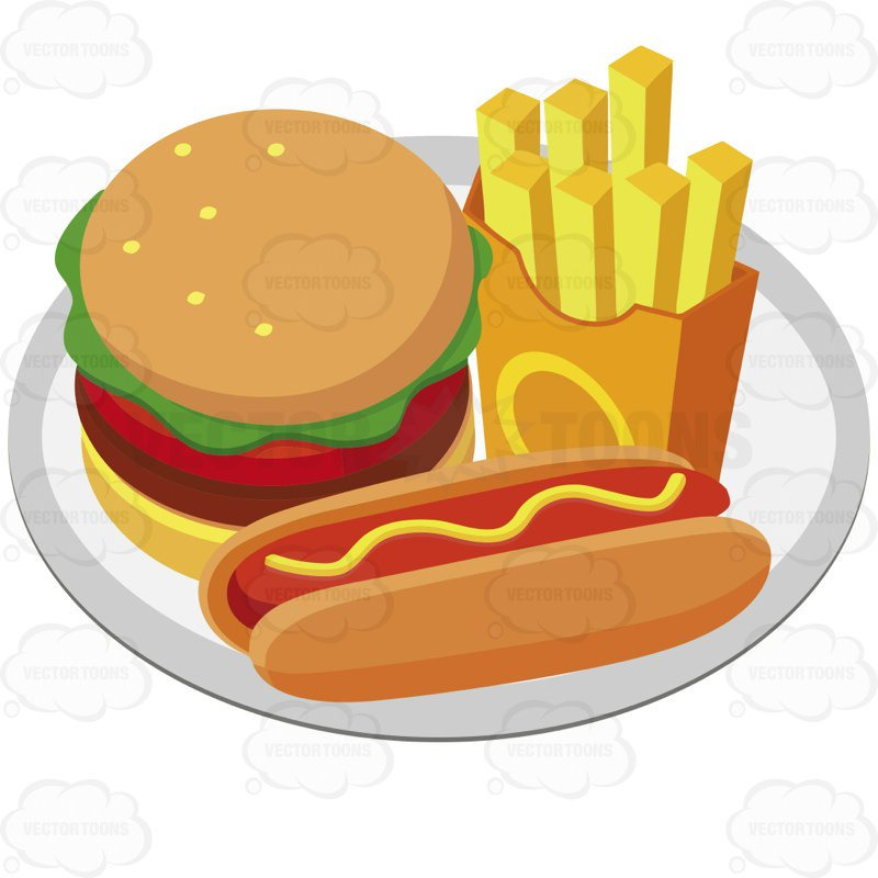 800x800 Plate With A Hamburger French Fries And A Hot Dog With Mustard