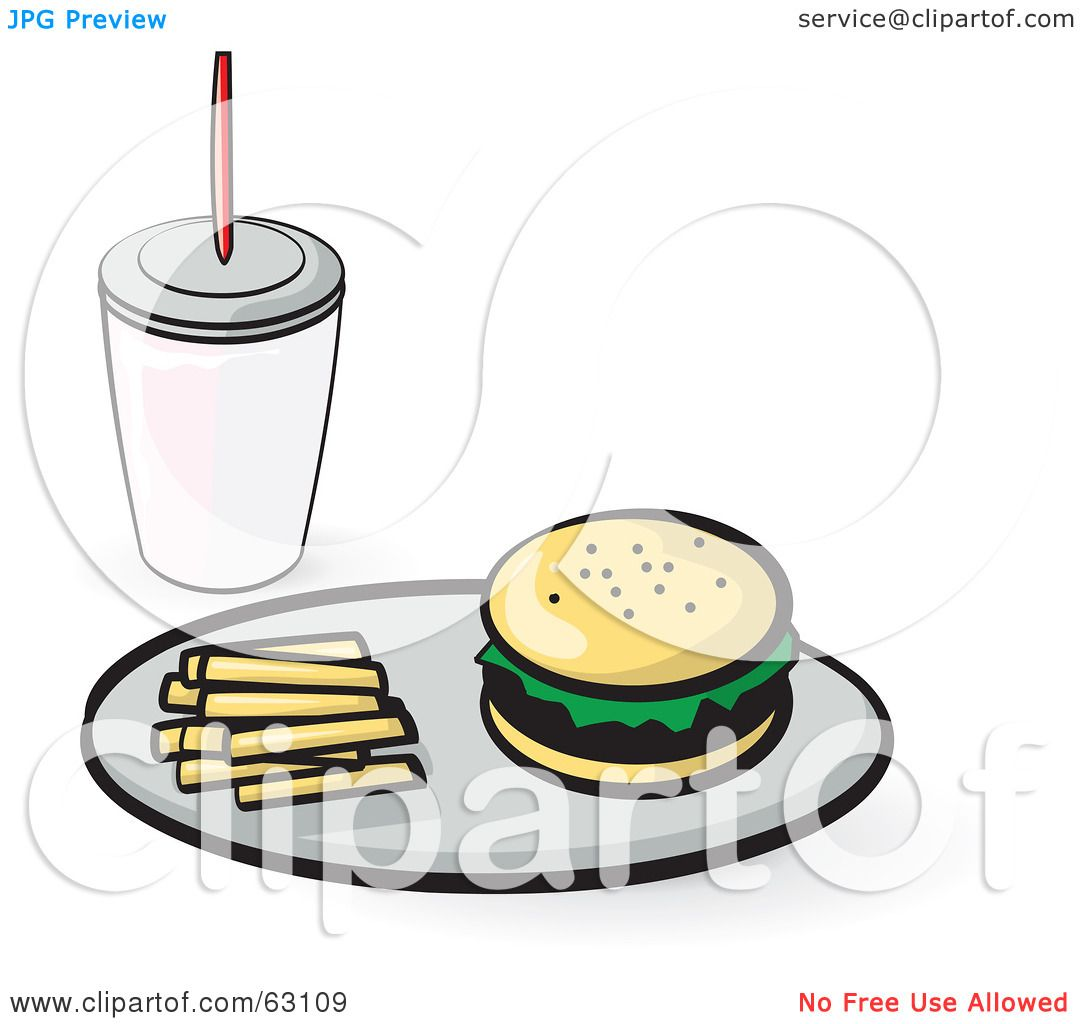 1080x1024 Royalty Free (Rf) Clipart Illustration Of A Tray With French Fries