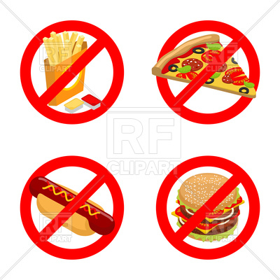400x400 Set Of Stop Sign With Fast Food French Fries, Piece Of Pizza,hot