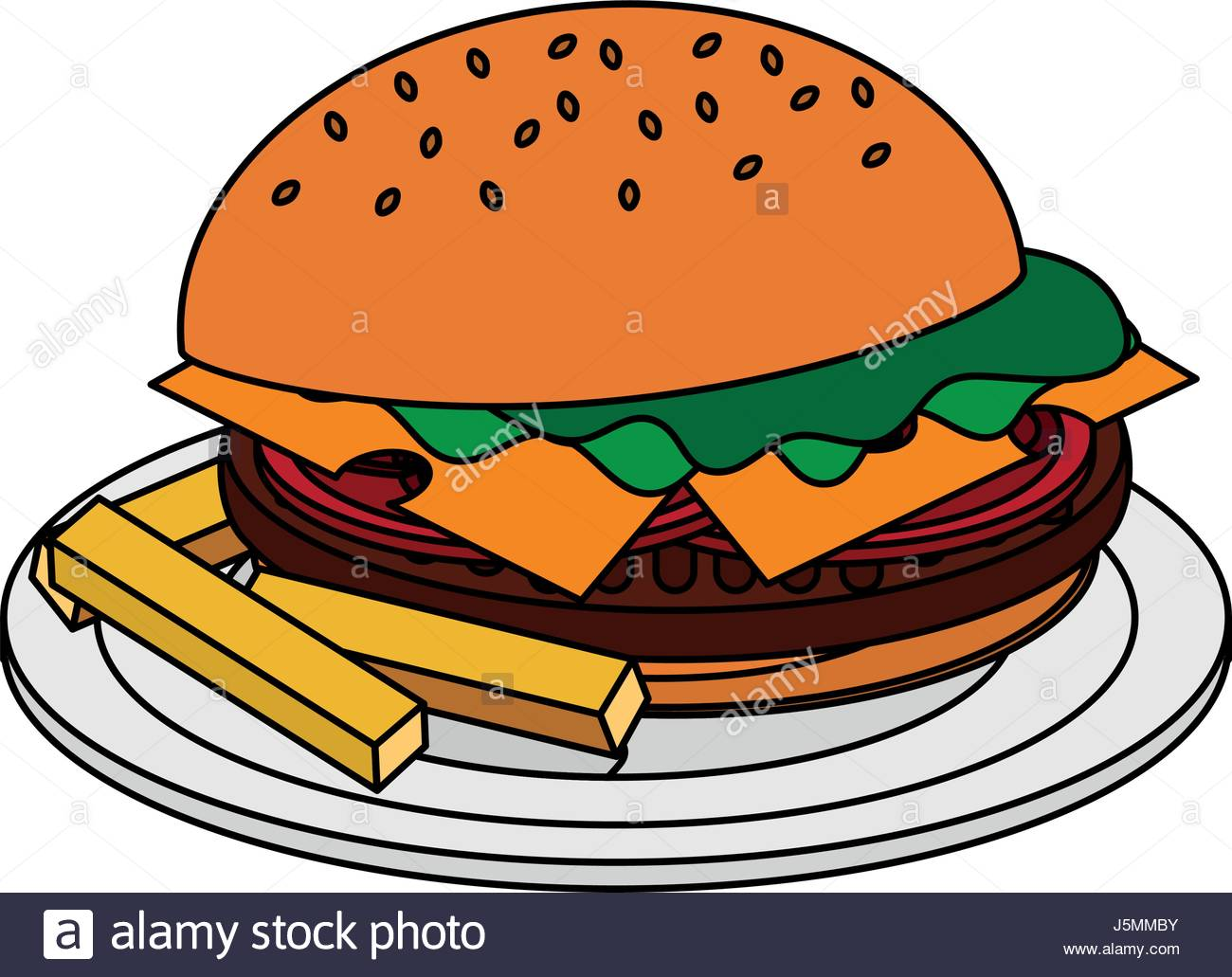 1300x1031 Color Image Cartoon Hamburger In Dish With French Fries Stock