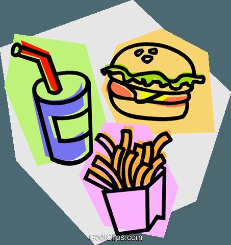 453x480 Hamburger, French Fries, Drink Royalty Free Vector Clip Art