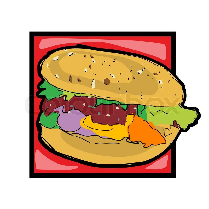 800x800 Classic Clip Art Graphic Icon With Cheeseburger Stock Vector