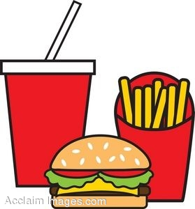 279x300 Clip Art Illustration Of Fast Food Gurger And Fries Meal